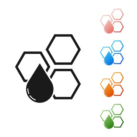 Black Honeycomb icon isolated on white background. Honey cells symbol. Sweet natural food. Set icons colorful. Vector Illustration