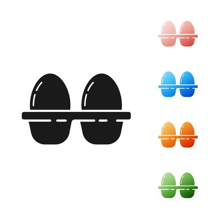 Black Chicken egg in box icon isolated on white background. Set icons colorful. Vector Illustration