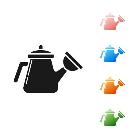 Black Watering can icon isolated on white background. Irrigation symbol. Set icons colorful. Vector Illustration
