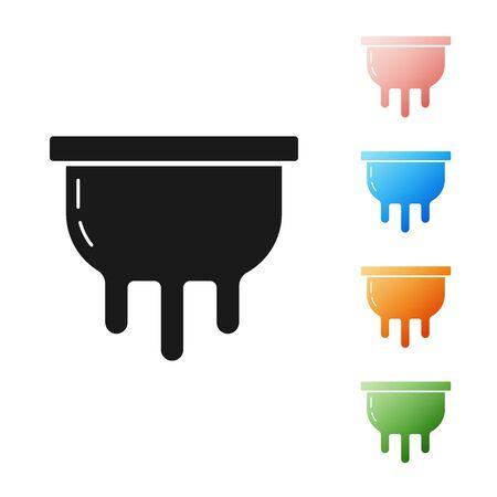 Black Udder icon isolated on white background. Set icons colorful. Vector Illustration Çizim
