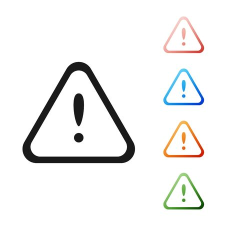 Black Exclamation mark in triangle icon isolated on white background. Hazard warning sign, careful, attention, danger warning important sign. Set icons colorful. Vector Illustration