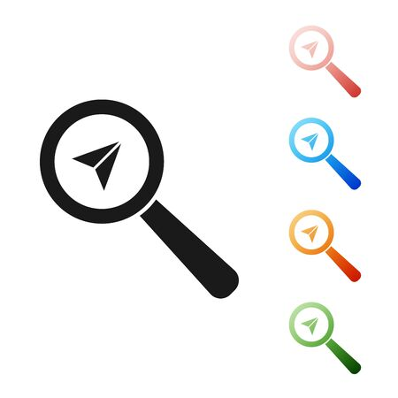 Black Search location icon isolated on white background. Magnifying glass with pointer sign. Set icons colorful. Vector Illustration Illustration