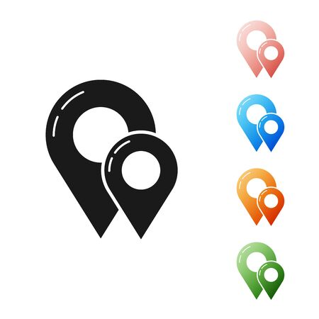 Black Map pin icon isolated on white background. Navigation, pointer, location, map, gps, direction, place, compass, contact, search concept. Set icons colorful. Vector Illustration