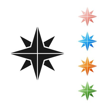 Black Wind rose icon isolated on white background. Compass icon for travel. Navigation design. Set icons colorful. Vector Illustration Çizim