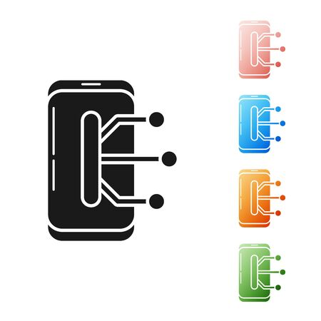 Black Smartphone, mobile phone icon isolated on white background. Set icons colorful. Vector Illustration