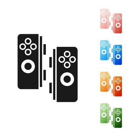 Black Gamepad icon isolated on white background. Game controller. Set icons colorful. Vector Illustration