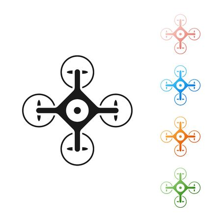 Black Drone flying with action video camera icon isolated on white background. Quadrocopter with video and photo camera symbol. Set icons colorful. Vector Illustration