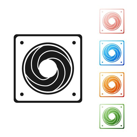 Black Computer cooler icon isolated on white background. PC hardware fan. Set icons colorful. Vector Illustration
