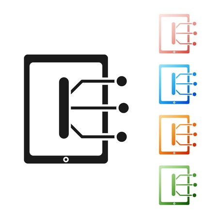 Black Tablet icon isolated on white background. Set icons colorful. Vector Illustration