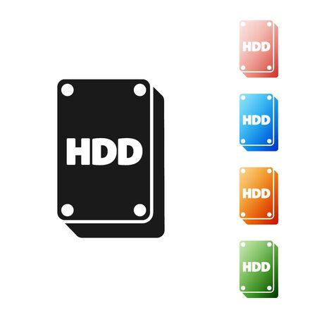 Black Hard disk drive HDD icon isolated on white background. Set icons colorful. Vector Illustration Çizim