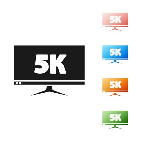 Black Computer PC monitor display with 5k video technology icon isolated on white background. Set icons colorful. Vector Illustration