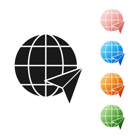Black Location on the globe icon isolated on white background. World or Earth sign. Set icons colorful. Vector Illustration
