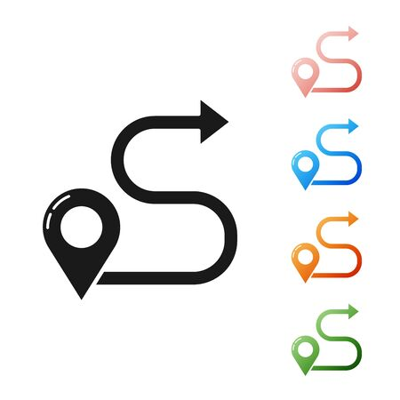Black Route location icon isolated on white background. Map pointer sign. Concept of path or road. GPS navigator. Set icons colorful. Vector Illustration