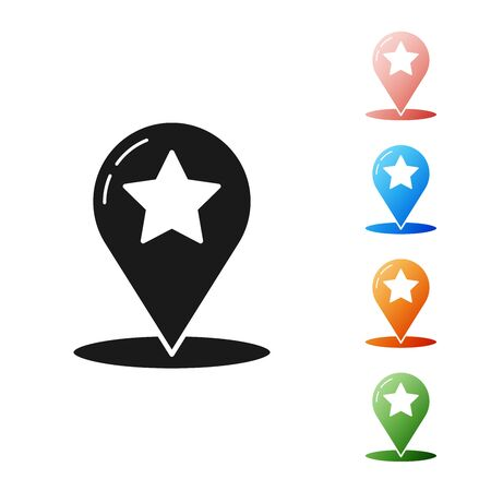 Black Map pointer with star icon isolated on white background. Star favorite pin map icon. Map markers. Set icons colorful. Vector Illustration