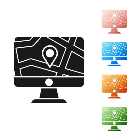 Black Computer monitor and folded map with location marker icon isolated on white background. Set icons colorful. Vector Illustration