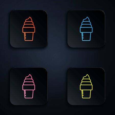 Color neon line Ice cream in waffle cone icon isolated on white background. Sweet symbol. Set icons in colorful square buttons. Vector Illustration Иллюстрация