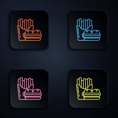 Color neon line Burger and french fries in carton package box icon on white background. Hamburger, cheeseburger sandwich. Fast food menu. Set icons in colorful square buttons. Vector Illustration