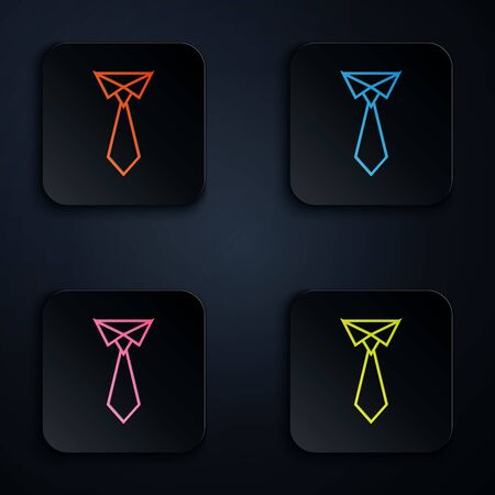 Color neon line Tie icon isolated on white background. Necktie and neckcloth symbol. Set icons in colorful square buttons. Vector Illustration