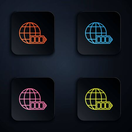 Color neon line Battery charge level indicator with earth globe icon isolated on white background. World or Earth sign. Set icons in colorful square buttons. Vector Illustration Иллюстрация