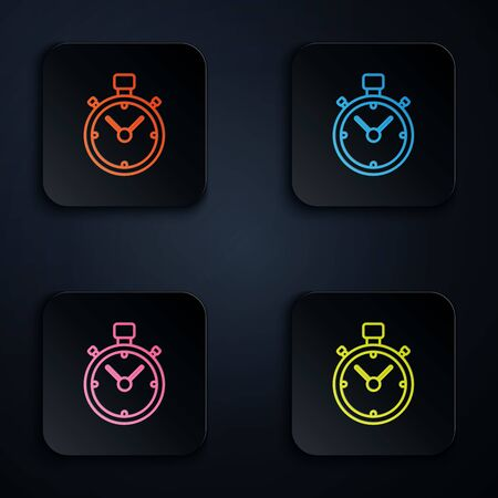 Color neon line Stopwatch icon on black background. Time timer sign. Chronometer sign. Set icons in colorful square buttons. Vector Illustration Ilustração