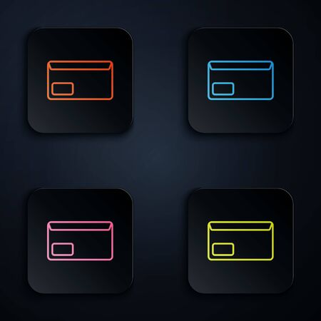 Color neon line Envelope icon on black background. Email message letter symbol. Set icons in colorful square buttons. Vector Illustration
