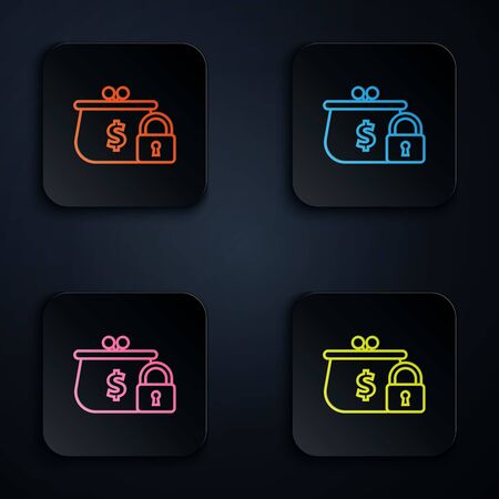 Color neon line Closed wallet with lock icon on black background. Locked wallet. Security, safety, protection concept. Concept of a safe payment. Set icons in square buttons. Vector Illustration