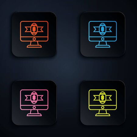 Color neon line American football on tv program icon isolated on white background. Set icons in colorful square buttons. Vector Illustration