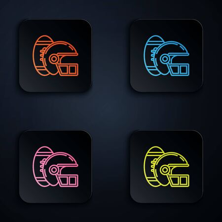 Color neon line American Football ball and helmet icon isolated on white background. Set of sport equipment. Set icons in colorful square buttons. Vector Illustration