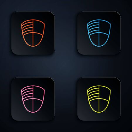 Color neon line Football club template icon isolated on white background. Design element for label, emblem, sign, poster. Set icons in colorful square buttons. Vector Illustration