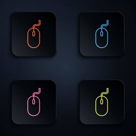 Color neon line Computer mouse icon isolated on white background. Optical with wheel symbol. Set icons in colorful square buttons. Vector Illustration