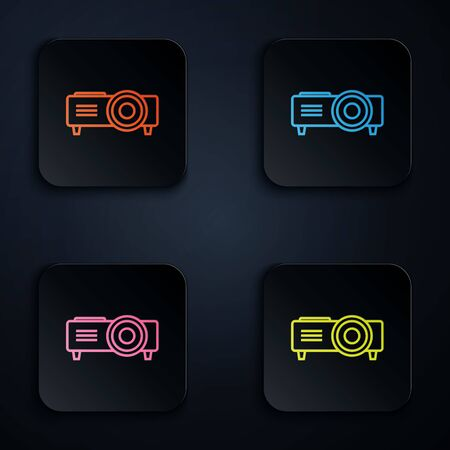 Color neon line Presentation, movie, film, media projector icon isolated on white background. Set icons in colorful square buttons. Vector Illustration  イラスト・ベクター素材