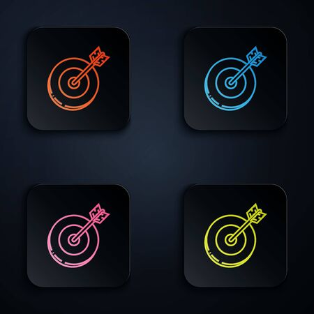 Color neon line Target icon on white background. Investment target icon. Successful business concept. Cash or Money sign. Set icons in colorful square buttons. Vector Illustration