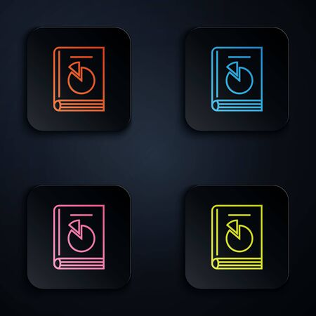 Color neon line User manual icon on white background. User guide book. Instruction sign. Read before use. Set icons in colorful square buttons. Vector Illustration