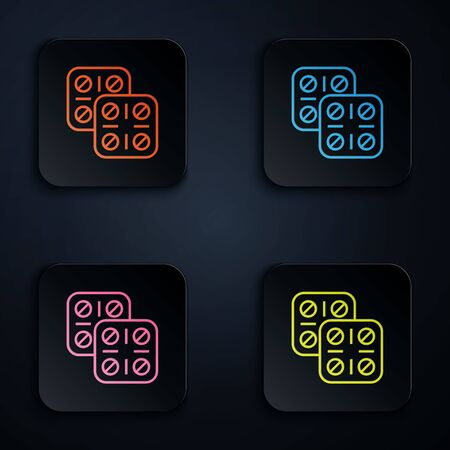 Color neon line Pills in blister pack icon isolated on white background. Medical drug package for tablet vitamin, antibiotic, aspirin. Set icons in colorful square buttons. Vector Illustration