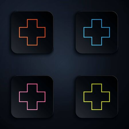 Color neon line Cross hospital medical icon isolated on white background. First aid. Diagnostics symbol. Medicine and pharmacy sign. Set icons in colorful square buttons. Vector Illustration Иллюстрация