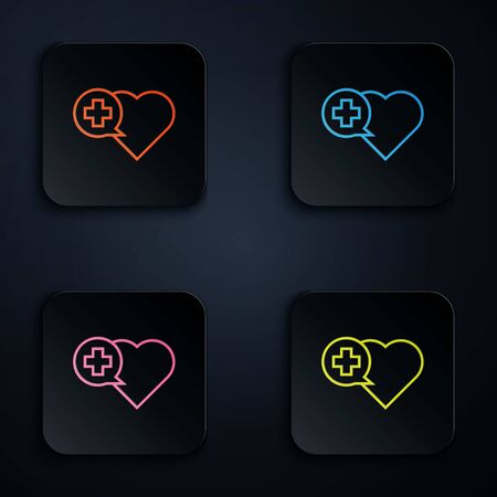 Color neon line Heart with a cross icon isolated on white background. First aid. Healthcare, medical and pharmacy sign. Set icons in colorful square buttons. Vector Illustration