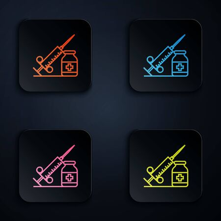 Color neon line Medical syringe with needle and vial or ampoule icon on white background. Vaccination, injection, vaccine, insulin concept. Set icons in colorful square buttons. Vector Illustration