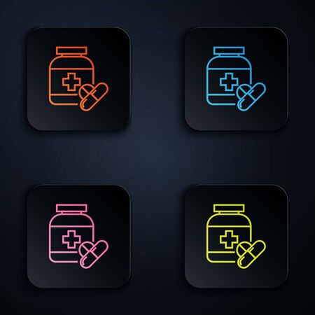 Color neon line Medicine bottle and pills icon isolated on white background. Bottle pill sign. Pharmacy design. Set icons in colorful square buttons. Vector Illustration 版權商用圖片 - 131481175