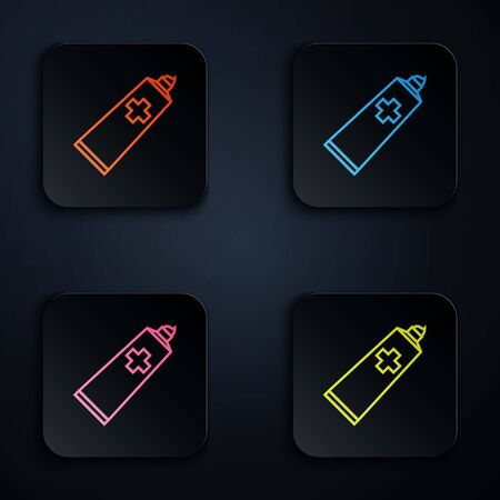 Color neon line Ointment cream tube medicine icon isolated on white background. Tube, container, toothpaste, cream sign. Set icons in colorful square buttons. Vector Illustration