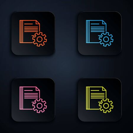 Color neon line Document settings with gears icon isolated on white background. Software update, transfer protocol, teamwork tool management. Set icons in colorful square buttons. Vector Illustration