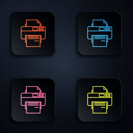 Color neon line Printer icon isolated on white background. Set icons in colorful square buttons. Vector Illustration Иллюстрация