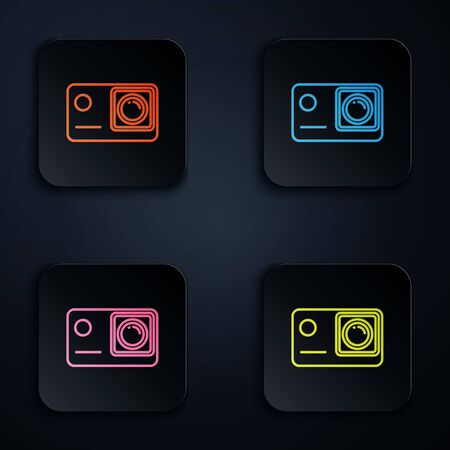 Color neon line Action extreme camera icon isolated on white background. Video camera equipment for filming extreme sports. Set icons in colorful square buttons. Vector Illustration Иллюстрация