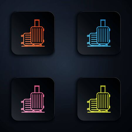 Color neon line Suitcase for travel icon isolated on white background. Traveling baggage sign. Travel luggage icon. Set icons in colorful square buttons. Vector Illustration