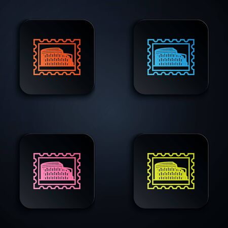 Color neon line Postal stamp and Coliseum icon isolated on white background. Colosseum sign. Symbol of Ancient Rome, gladiator fights. Set icons in colorful square buttons. Vector Illustration