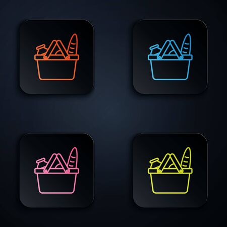 Color neon line Shopping basket and food icon isolated on white background. Food store, supermarket. Set icons in colorful square buttons. Vector Illustration Illustration
