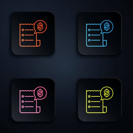 Color neon line Paper check and financial check icon isolated on white background. Paper print check, shop receipt or bill. Set icons in colorful square buttons. Vector Illustration Illustration