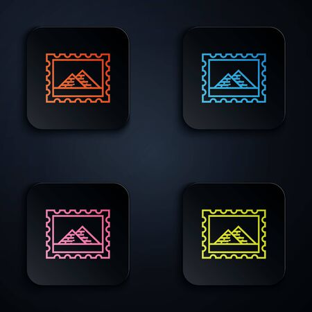 Color neon line Postal stamp and Egypt pyramids icon isolated on white background. Set icons in colorful square buttons. Vector Illustration
