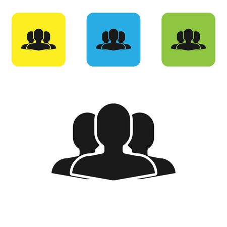 Black Users group icon isolated on white background. Group of people icon. Business avatar symbol users profile icon. Set icons colorful square buttons. Vector Illustration