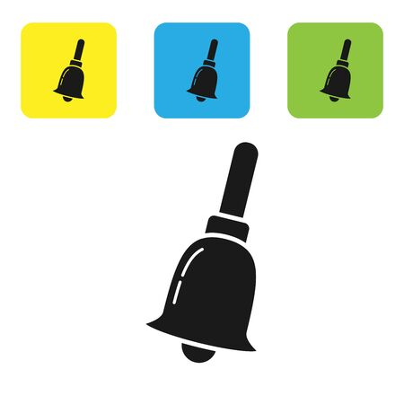 Black Ringing bell icon isolated on white background. Alarm symbol, service bell, handbell sign, notification symbol. Set icons colorful square buttons. Vector Illustration