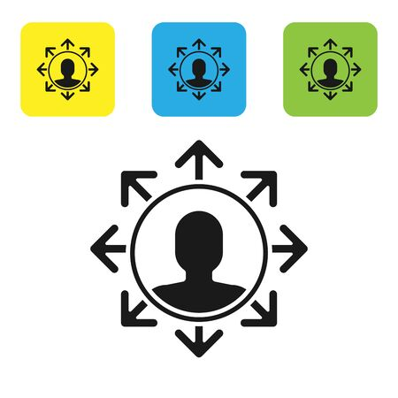 Black Project team base icon isolated on white background. Business analysis and planning, consulting, team work, project management. Set icons colorful square buttons. Vector Illustration